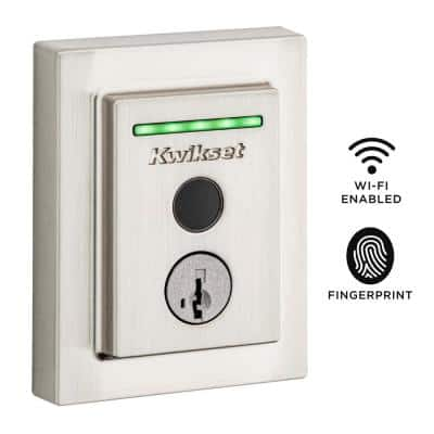 Halo Touch Satin Nickel Contemporary Fingerprint Wi-Fi Electronic Smart Lock Deadbolt Featuring SmartKey Security