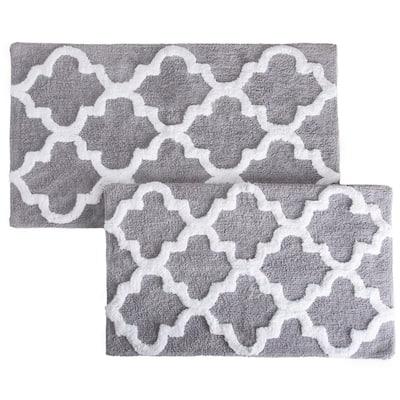 Trellis Silver 24.5 in. x 41 in. 2-Piece Mat Set
