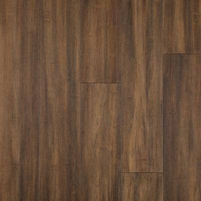 Horizontal Hand Scraped Sepia 3/8 in. T x 5 in. W x 38.58 in. L Click Lock Bamboo Flooring (26.79 sq. ft. / case)