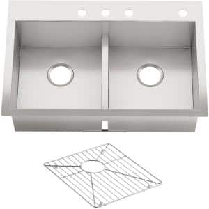 Vault Drop-In/Dualmount Stainless Steel 33 in. 4-Hole Double Basin Kitchen Sink Kit
