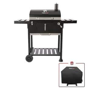 Charcoal Grill with 2 Side Table in Black Plus a Cover