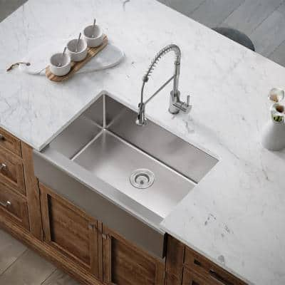 Farmhouse Apron Front Stainless Steel 29-7/8 in. Single Bowl Kitchen Sink