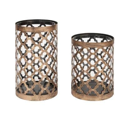 9.65 in. Brown Metal and Glass Outdoor Patio Candle Holder
