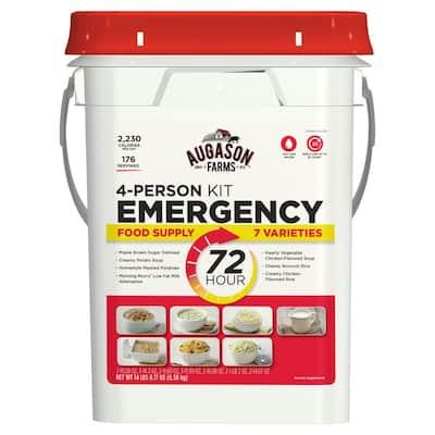 72-Hour 4-Person Emergency Food Supply Evacuation Pail 7 Varieties 25-Year Shelf Life