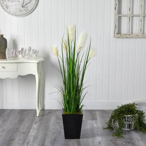 4.5 ft. Wheat Plume Grass Artificial Plant in Black Metal Planter