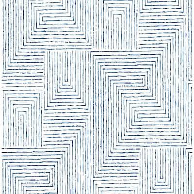 Merritt Indigo Geometric Indigo Wallpaper Sample