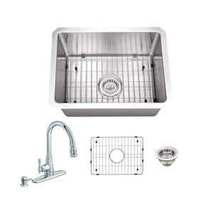 All-In-One Undermount 16-Gauge Stainless Steel 15 in. 0-Hole Single Bowl Radius Bar Sink with Arc Kitchen Faucet