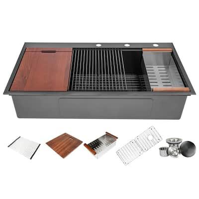 Ariel 16-Gauge Nano Black Stainless Steel 42 in. Single Bowl Drop-In Workstation Kitchen Sink with Accessories