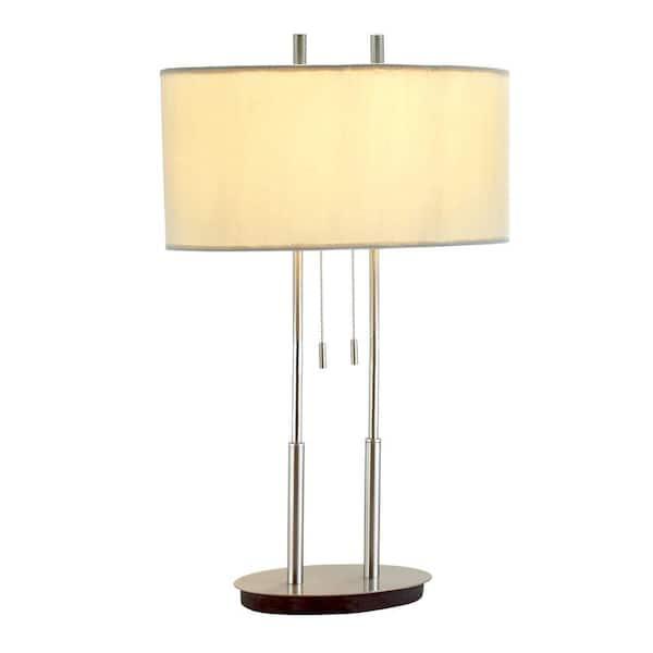 Hampton Bay Duet 27 In Satin Steel Table Lamp 4015 22 The Home Depot