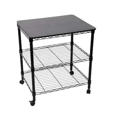 Steel Wire 3-Tier Rolling Utility Cart, Storage, Black