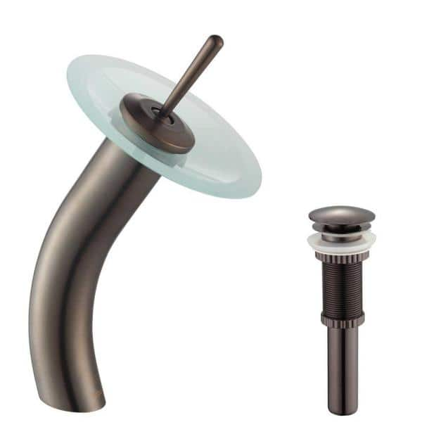 Kraus Single Hole Single Handle Low Arc Vessel Glass Waterfall Bathroom Faucet In Oil Rubbed Bronze With Frosted Glass Disk Kgw 1700 Pu 10orb Fr The Home Depot