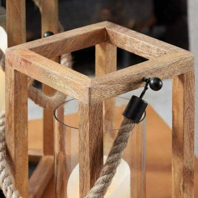 Natural Wood Lantern Candle Holder - Hanging or Tabletop with Rope Handle (Set of 2)