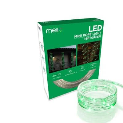 16 ft. Green All Occasion Indoor Outdoor LED 1/4 in. Mini Rope Light 360 degree Directional Shine Decoration