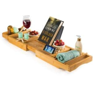 Bathtub Caddy Tray with Book and Wine Holder for a Spa Relaxing Bath with Extendable Arms