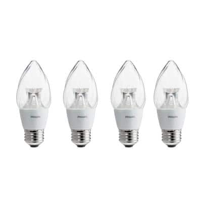 60-Watt Equivalent F15 Dimmable LED Post Light Soft White Clear with warm Glow Light Effect (4-Pack)