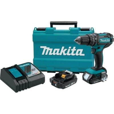 18-Volt Lithium-Ion 1/2 in. Compact Cordless Hammer Driver Drill Kit with two Batteries (2.0 Ah), Charger and Hard Case