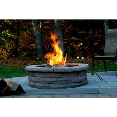 Ledgestone 47 in. Concrete Fire Pit Ring Kit Gray Variegated