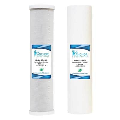 Whole House Water Filter Replacement Cartridge Set of Sediment and Carbon Block, 4.5 x 20 in.