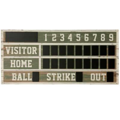 Wooden Chalkboard Baseball Scoreboard Wall Decor