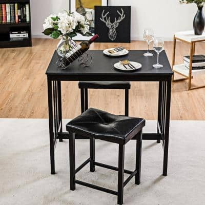 3-Piece Modern Dining Set with Upholstered Stools