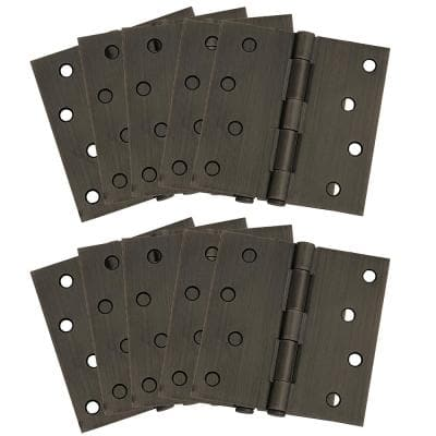 4 in. Square Corner Oil Rubbed Bronze Door Hinge Value Pack (10 per Pack)