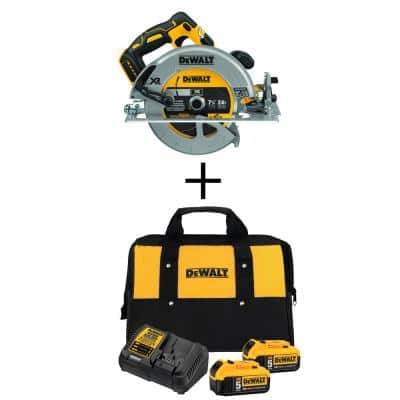 20-Volt MAX Li-Ion Cordless Brushless 7-1/4 in. Circ Saw (Tool-Only) w/ 20-V Battery 5.0Ah (2-Pack), Charger and Kit Bag