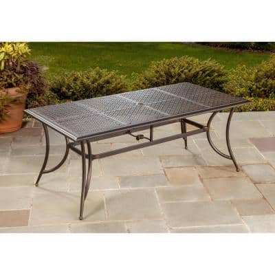 Modern Bronze Rectangular Aluminum Outdoor Patio Dining Table