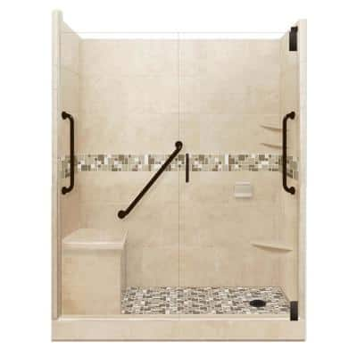 Tuscany Freedom Grand Hinged 32 in. x 60 in. x 80 in. Right Drain Alcove Shower Kit in Brown Sugar and Old Bronze