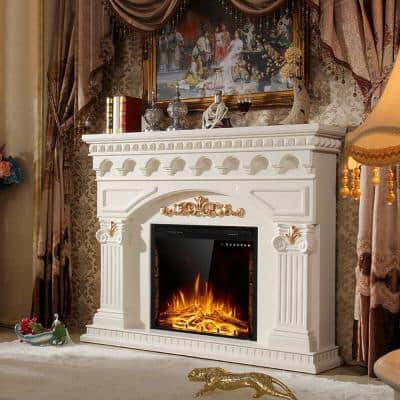 26 in. W 750-Watt to 1500-Watt Embedded Wall Mounted Insert Heater Glass Log Flame Electric Fireplace with Remote Black