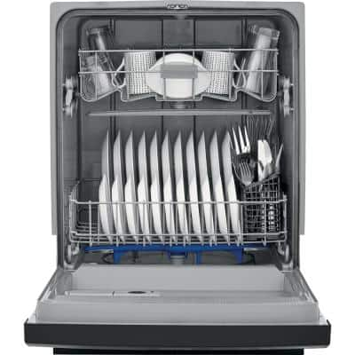 24 in. Black Front Control Built-In Tall Tub Dishwasher, 60 dBA