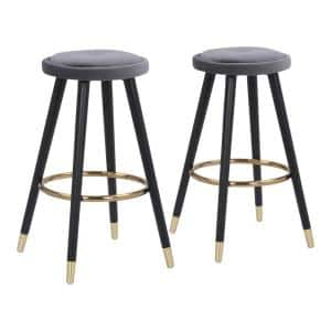 Cavalier 26 in. Silver Velvet and Black Wood Backless Counter Stool (Set of 2)