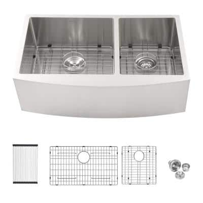 16-Gauge Stainless Steel 36 in. Double Bowl 60/40 Round Corner Farmhouse/Apron Kitchen Sink with Bottom Grid
