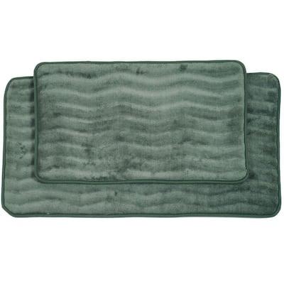 2-Piece Green Memory Foam Bath Mat Set