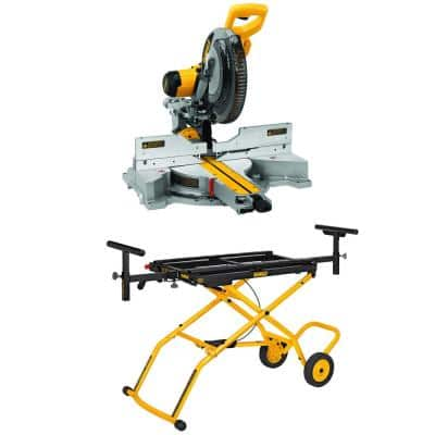 15-Amp Corded 12 in. Sliding Compound Miter Saw with Bonus Rolling Stand