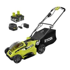 ONE+ 18V 16 in. Hybrid Walk Behind Push Lawn Mower with (2) 4.0 Ah Batteries and Charger