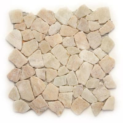 Indonesian Alor Crystal 12 in. x 12 in. x 6.35 mm Natural Stone Pebble Mesh-Mounted Mosaic Tile (10 sq. ft. / case)