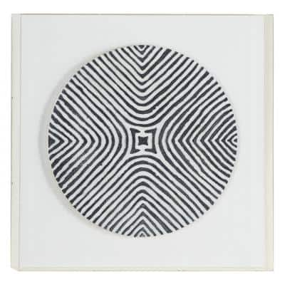 Tribal Design Black and White Shadow Box Wall Decor, 23.6 in. x 23.6 in.