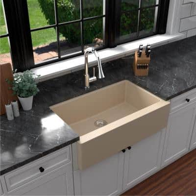 Farmhouse/Apron-Front Quartz Composite 34 in. Single Bowl Kitchen Sink in Bisque