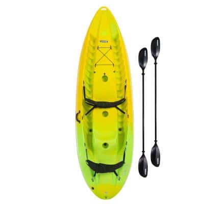 10 ft. Manta 100 Yellow and Lime Tandem Kayak with Paddles