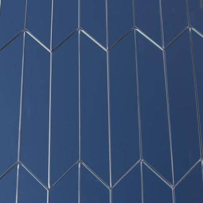 Reflections Graphite Blue Straight Edge Chevron 4 in. x 12 in. Glass Mirror Wall Tile (16.2 Sq.Ft./Case)