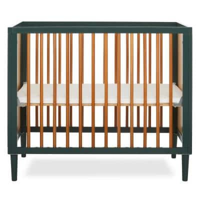 Lucas 4-in-1 Olive Mini Modern Crib with Rounded Spindles I Convertible Crib I Mid- Century Meets Modern