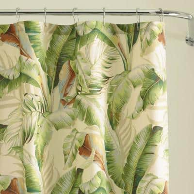 Palmiers Green 72 in. Cotton Shower Curtain