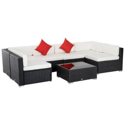 Outsunny Patio Life Coffee Brown 7-pc Wicker Patio Conversation Set with Cream White Cushions