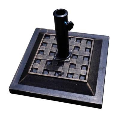 17.5 in. Heavy-Duty Square Outdoor Umbrella Base Stand in Black