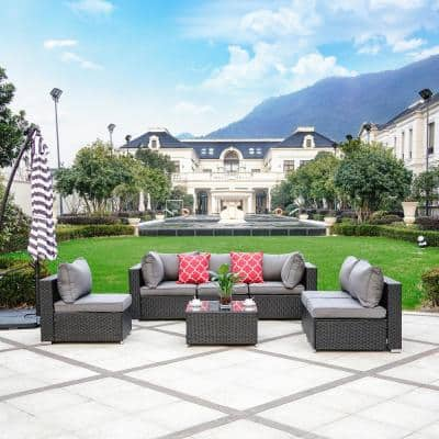 Jazzy Espresso 7-Piece Rattan Sectional Seating Group With Gray Cushion and Pillow
