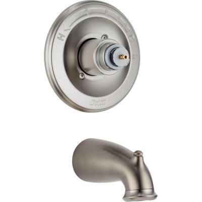 Leland 1-Handle Tub Filler Trim Kit in Stainless-Steel (Valve and Handles Not Included)
