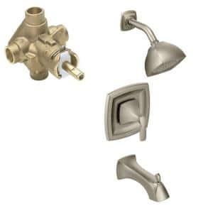 Voss Single-Handle 1-Spray Posi-Temp Tub and Shower Faucet in Brushed Nickel (Valve Included)