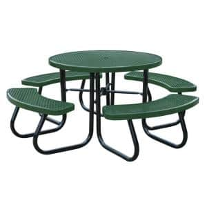 46 in. Green Picnic Table with Built-In Umbrella Support