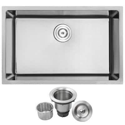 Arlo Undermount 18-Gauge Stainless Steel 28 in. Single Bowl Kitchen Sink with Basket Strainer