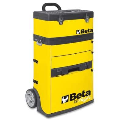 21 in. Mobile Tool Utility Cart with 3 Slide-Out Drawers and Removable Top Box with Carry Handle in Yellow